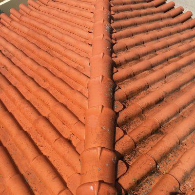 Diferença entre o estado do telhado depois de efectuarmos a limpeza e antes.